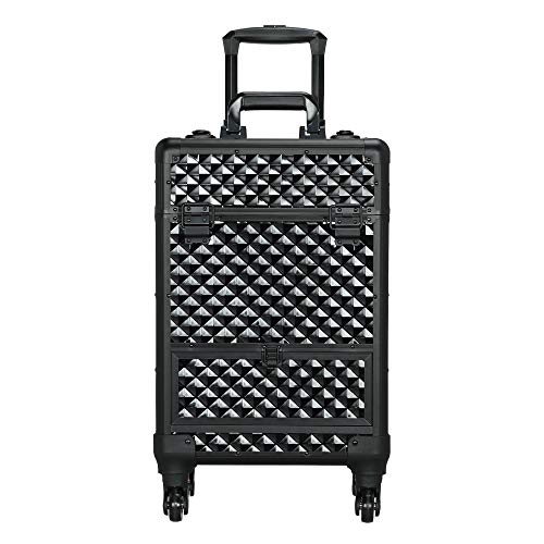 Yaheetech Black Makeup Case Rolling Train Case Lockable Cosmetic Trolley Spinner Wheels with Sliding Drawer