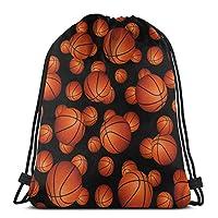 バスケットボール巾着バックパックスポーツジムサックパックトラベルバッグキッズメンズレディース用