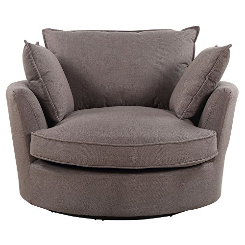 Sofa-Collection Olympia Herringbone Fabric Cuddle Swivel Chair for Office Living Room Bedroom Reception (Light Brown)