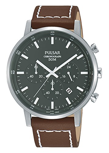 Pulsar herenhorloge chronograaf kwarts horloge met lederen armband PT3887X1