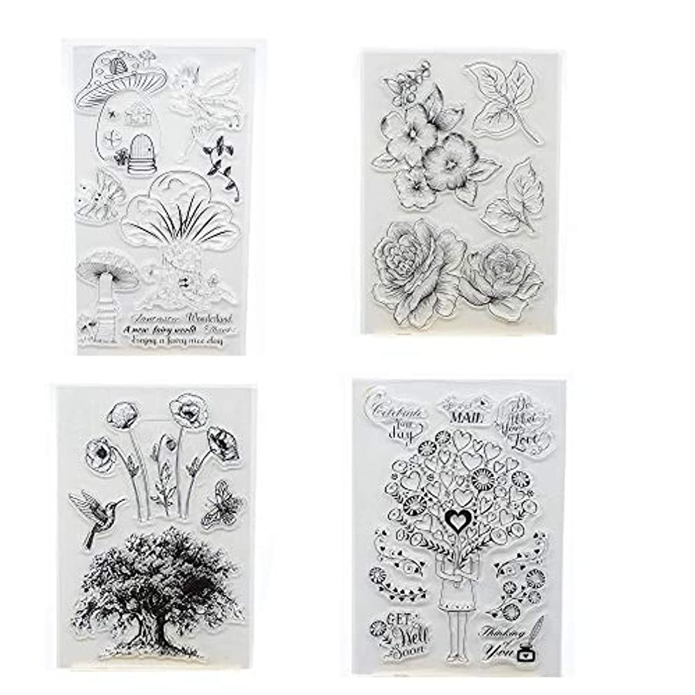 Welcome to Joyful Home 4pcs/Set Fairy Trees Floral Rubber Clear Stamp for Card Making Decoration and Scrapbooking