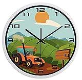 Chuixiaoxiao1 Reloj de Pared Tractor Americano Campo de VidrioMarca Nuevo Cuarzo Sala de EstudioEspecial Durable Retro Reloj (10 Pulgadas