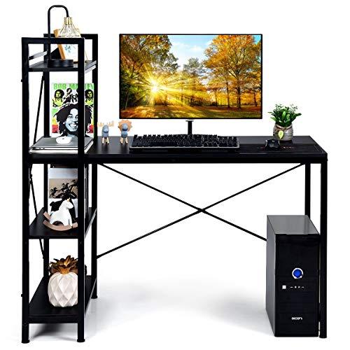 DREAMADE Schreibtisch mit Bücherregal und Höhenverstellbarem Fußpolster, Computertisch Bürotisch aus Holz & Eisenrohr, X–förmiger Arbeitstisch, für Wohnzimmer Büro Spielzimmer (Schwarz)