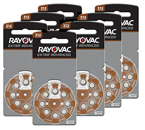 Rayovac Size 312 Extra Advanced Mercury Free Hearing Aid Batteries (56 Batteries)