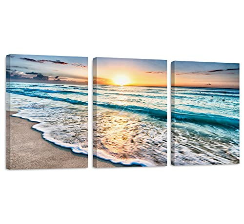 Canvas Wall Art for Living Room Bathroom Bedroom Home Decor, Beach Sunset Ocean Waves Nature Pictures Watercolor Painting Canvas Print 12x16 inch/Piece, 3 Pieces Ready to Hang