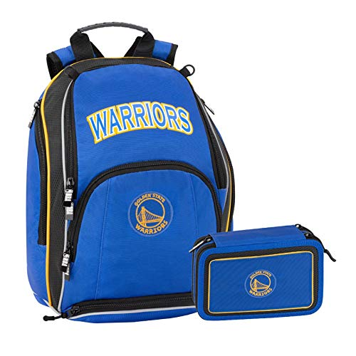NBA Golden State Warriors Schoolpack - Mochila escolar organizada + Estuche 3 cremalleras completo de papelería