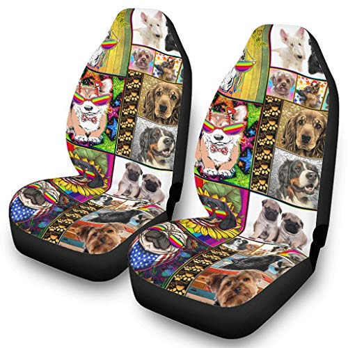 DOGCATPIG Cubierta de coche de poliéster perro colorido arco iris gafas animal suave asiento de coche cubre para asiento de coche de bebé blanco onesize