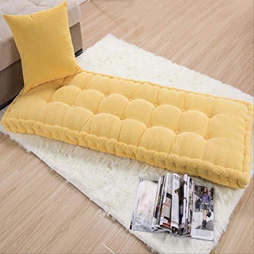 iusaSDZ Cojín de Silla espesante para Tumbona, sofá, Mecedora, Tumbona Desmontable y Lavable con Cubierta Superior Amarillo 48x125x10cm