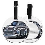 Top-T Retro ispirato auto design con pneumatici asimmetrici Fast Car Speeding Cool Logo,etichetta bagagli in pelle