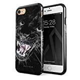 BURGA Hülle Kompatibel mit iPhone 7/8 / SE 2020 - Schwarz Panther Katze Savage Wild Cat Robustes Stoßfestes Doppellagiges Hardcase + Silikon Handyhülle Hülle Cover