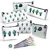 Favengo, 6 astucci in tela per matite con cactus, portamonete, borsetta per trucchi, cancelleria, cosmetici, astuccio multifunzione per la scuola con 5 matite