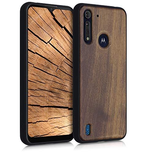 kwmobile Bumper Schutzhülle kompatibel mit Motorola Moto G8 Power Lite - Hülle - Holz Handy Hülle Cover Dunkelbraun