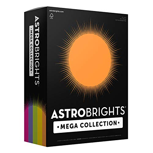 Astrobrights Mega Collection, Colored Paper,'Joyful' 5-Color Assortment, 625 Sheets, 24 lb/89 gsm, 8.5' x 11' - MORE SHEETS! (91624)