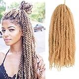 18 Inch Marley Hair Marley Twist Hair 4 Pack Afro Kinky Crochet Hair Marley Twist for Faux Locs Braiding Synthetic (18inch 27#)