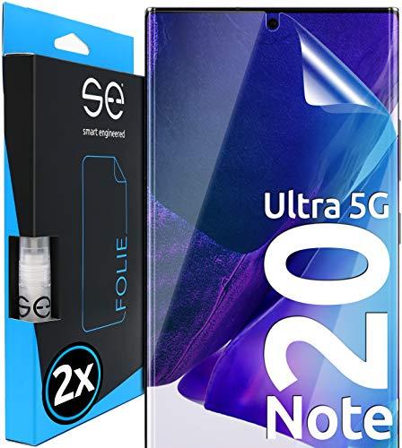 [2 Stück] 3D Schutzfolien kompatibel mit Samsung Galaxy Note 20 Ultra 5G, hüllenfre&liche durchsichtige HD Bildschirmschutz-Folie, Schutz vor Dreck & Kratzern, kein Schutzglas - smart Engineered