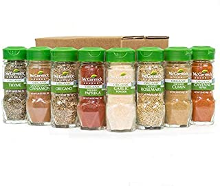 McCormick Gourmet Organic Spice Rack Refill, 8 Herbs & Spices Included (Restock Pantry with Spice Set)