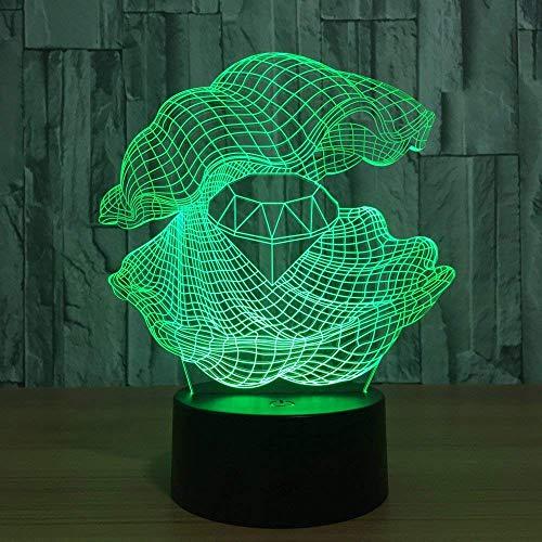 MQJ Forma de Concha Luz de Noche 3D para Niños Boys Girls Gift Lámpara de Ilusión 3D para Dormitorio Al Lado de la Mesa, 16 Cambio de Color Led Lámpara de Humor Lámpara de Mesa Lámpara de Mesa Regalo