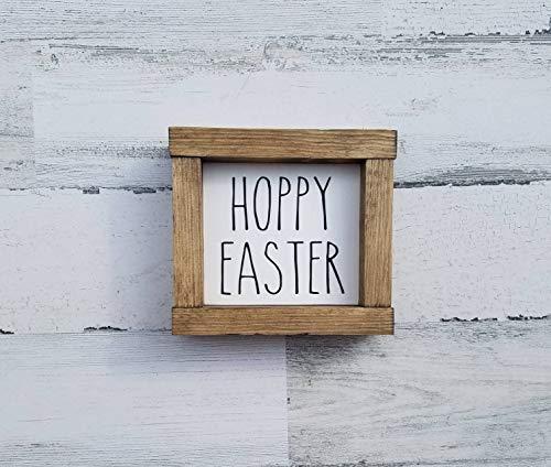 Unknow Hoppy Oster-Holzschild, Rae Dunn inspiriertes Schild Rae Dunn Frühlingsschild Frühlingsdeko Bauernhaus Dekor Hello Spring Mini Etagere Tablett
