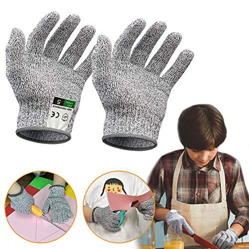 BIGMEDA Schnittsichere Handschuhe für Kinder - Leistungsfähiger Level 5 Schutz,Lebensmittelecht - Zum Kochen, Schnitzen und Gärtnern(XS(8-12 Jährige))