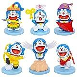 Doraemon Cake Topper - YUESEN 6pcs Doraemon Mini Juego de Figuras Niños Mini Juguetes Baby Shower Fiesta de cumpleaños Pastel Decoración Suministros