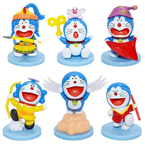 Cake Topper - YUESEN 6pcs Doraemon Mini Figurine Mini Giocattoli per Bambini e Baby Shower Forniture per la Decorazione della Torta della Festa di Compleanno