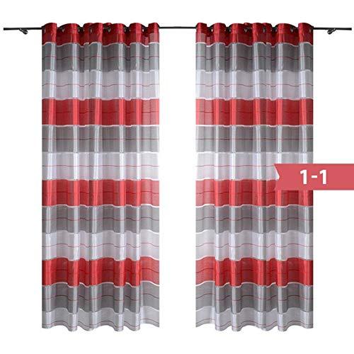 PENVEAT Fliegende Vorhänge für Fenster Wohnzimmer das Schlafzimmer Gestreifte Nordic Moderne Vorhang Dekor Maßgeschneiderte Natürliche Polyester Vorhänge, 1-1,1 Stücke W145xL250CM, Stange Tasche