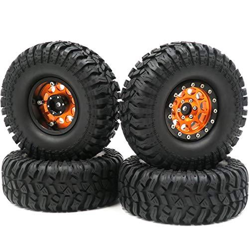 4pcs RC 1.9'' Crawler Mud Tires Off Road Tyre Height 114mm & 1.9 Alloy Beadlock Wheel Rims Hex 12mm Black/Orange Color
