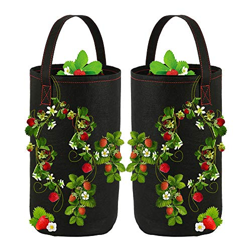 Strawberry Grow Bags Breathable Strawberry Planter with Pockets Growing Bag with Handles for Garden Strawberries, Herbs, Flowers, Tomatoes 2 Pack (Black)