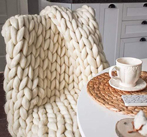 Couverture tricotée Chunky, couvertures en Tricot de Fil Big Chunky Faits à la Main, Grand câble tricoté décor, Douce et Confortable pour Couverture canapé Ivory White 80x100CM