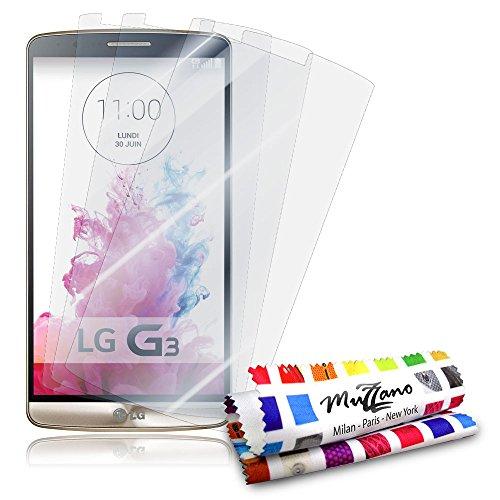 3 Protecciones de Pantalla transparentes para LG G3 VS98 'UltraClear' Originales de MUZZANO de Calidad PREMIUM - Tratamiento Anti-rayado, Anti-rastro y Anti-polvo + De regalo 1 ESTILETE + 1 PAÑO MUZZANO
