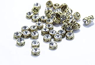 The Design Cart White Circular Golden Kundan Stones, 1 cm, for Jewellery Making,Craft,Embroidery,Saree,Blouse Work and Dress Making (Pack of 50 Pieces)