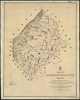 Gifts Delight Laminated 22x27 Poster  Map of Rappahannock County Virginia Zoom into This mapa atHotchkiss JedediahPublisher Unit