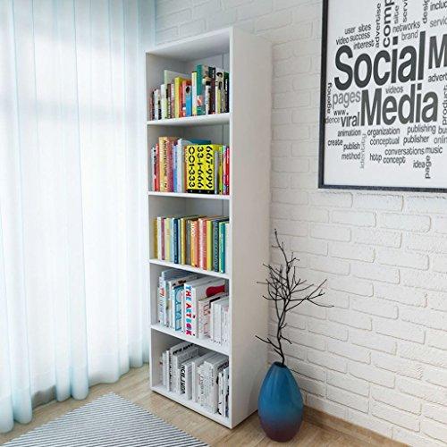 UnfadeMemory Estantería Librería,Estantería para Libros para Estar Dormitorio Habitación Oficina Estudio,Colocar en Suelo o en Pared,Madera Prensada (Blanco, 60x31x190cm,4 Estantes Ajustables)