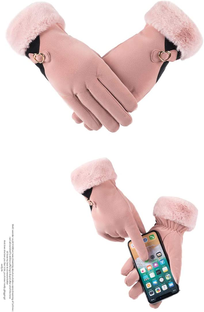 AMILIEe Gloves Women's Winter Warmth and Velvet Thickening Cute Korean Version of Furry Riding Waterproof Cold-Proof Touch Screen Gloves