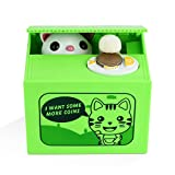 Peradix Money Bank Stealing Coin Cat Box Kitty Piggy Bank, Automatic...