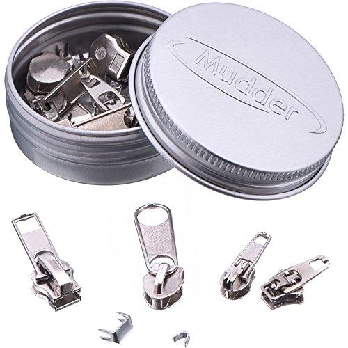 Mudder 36 Stück Reißverschluss Ersatz Reißverschluss Reparatur Set, Silbern