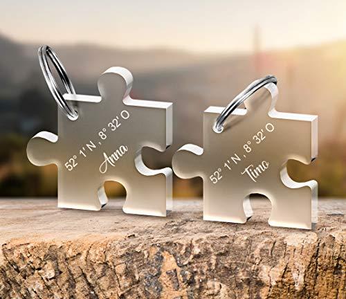 CHRISCK design 2 Schlüsselanhänger  Puzzle  mit deiner persönlichen Gravur Spruch oder Namen schöne Geschenkidee zum Valentinstag aus massivem Acrylglas Paare, Freund, Freundin Eltern