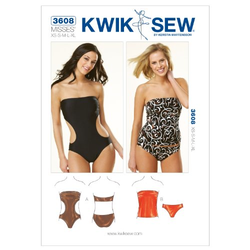 Kwik Sew Patroon K3608 maat XS/Small/Medium/Large/Extra groot strapless badpak, wit, 1 stuk