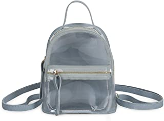 Mochila Transparente Transparente para Mujer Jelly Color Handbag Small Travel Mochila (Sky Blue)