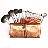 Sistema de cepillo del maquillaje Cubiertas de maquillaje fuerte 24 Súper pelo suave animal set cepillo de mango de madera portable del maquillaje del kit de herramientas de belleza especial del artis