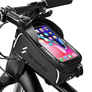 Bike Phone Front Frame Bag – Waterproof Bicycle Top Tube Cycling Phone Mount Pack Phone Case for 6.5'' iPhone Plus xs max
