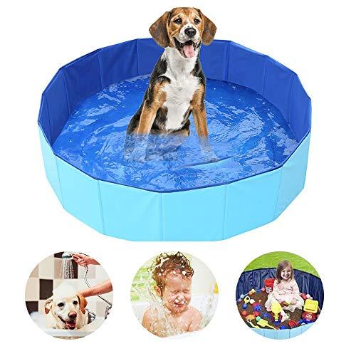 SYCASE Hundepool Schwimmbecken Für Kleine & Große Hunde, Faltbare Hund Planschbecken, Hundebadewanne, Planschbecken für Kinder und Hunde, Eco-Friendly PVC Hundepool 32