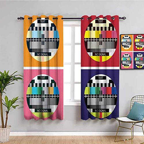 Cortinas opacas de decoración moderna para dormitorio, televisión, canal de radio, señal digital de señal en cuatro collage, ilustraciones para reducir la luz, multicolor, ancho 63 x largo 72 pulgadas