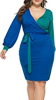 Women's Sexy V Neck Dress Color Block Long Sleeve Tie Knot Front Wrap Bodycon Midi Bandage Pencil Dresses with Belt