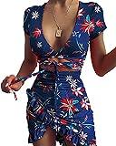 moroess Vestido de verano para mujer, cuello en V, manga corta, bodycon, largo hasta la rodilla, vestido de cóctel azul XL
