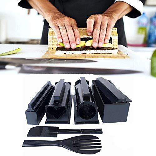 Kit Sushi Maki Complet Sushi Maker Kit 10 PCS Moules à Sushi set riz Rouleau Kit Sushi Maker DIY Cuisine Coffret Complet Convient à Dãbutants (noir)
