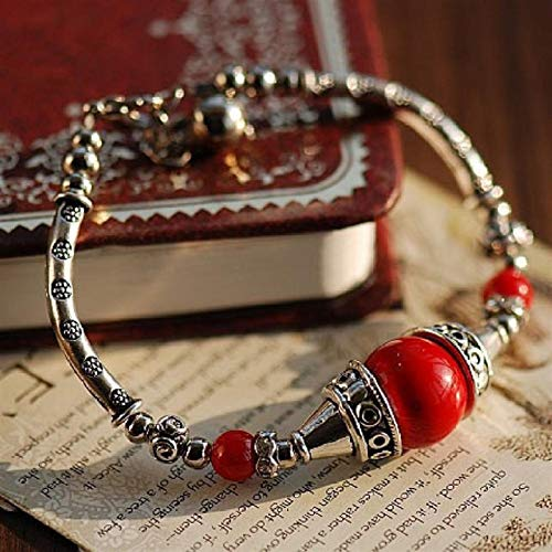 Shability Classical Original Tibetan Silver Bracelet Red Cinnabar Beads 100% DIY Design Simple Handmade Fortune-bringing Ethnic Jewelry yangain