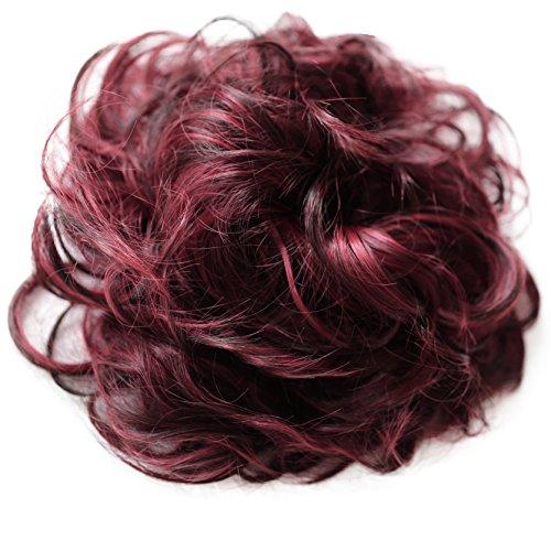 PRETTYSHOP XXL Haarteil Haargummi Hochsteckfrisuren Voluminös Gelockt Unordentlich Dutt Rot Dunkelbraun Mix HW41