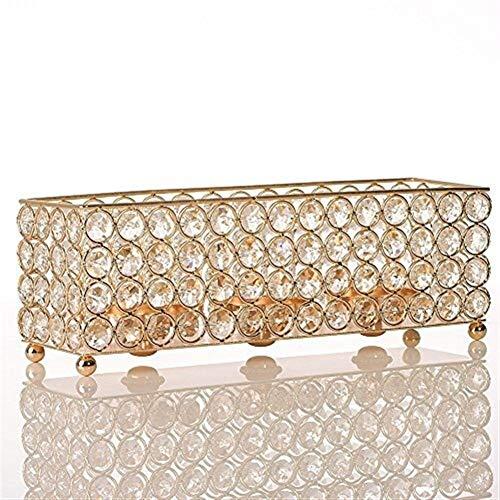 JinSui Candelabro Porta Velas Rectangulares Cubo Soporte De Velas Base Metal Craft Votice De Cristal De La Boda Vector Centros De Decoración Portavelas Decoracion (Color : Gold)