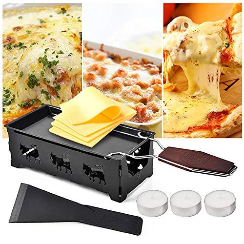 Quesador de queso, raclette y derretidor de queso, raclette, antiadherente, portátil, juego de bandeja de horno, raclette plegable, para 2 personas, con raspador y velas de té, derretidor de queso